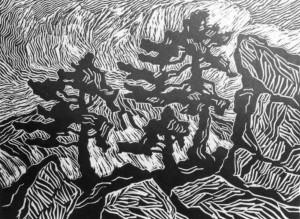 B043 Pines, Rocks and Snow - unknown state (2) 1921 linoleum cut