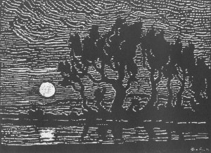 Moonrise on the Smoky River 1922 nailcut