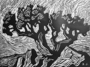 B048 Tree and Rocks 1925 linoleum cut