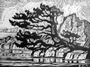 b049-timberline-lake-1925-linoleum-cut