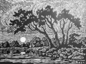 B051 Smoky River at Twilight 1928 linoleum cut