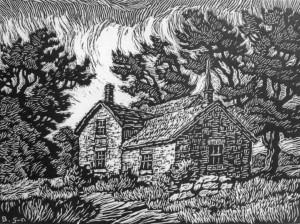 B060 Blue Valley Farm - 2nd state 1929 linoleum cut