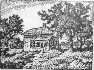 B061  Smoky Valley Homestead - 3rd state  1929  linoleum cut