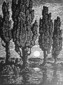 b073-poplars-at-moonrise-2nd-state-1933-linoleum-cut