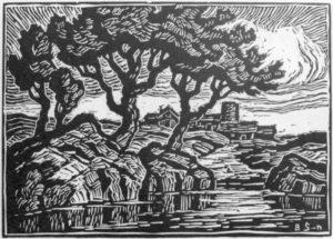 B077 A Kansas Landscape lino