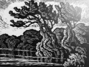 B079 River Sunset 1936 linoleum cut