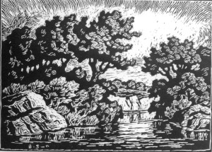 B093 Glimpse of Smoky River 1948 linoleum cut