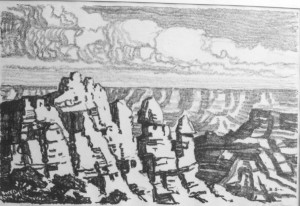 L006 In the Grand Canyon 1916 lithograph