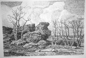 L022  Top of Salemsborg Hill  1917  lithograph