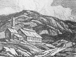 L027  Abadoned Mill  1918  lithograph