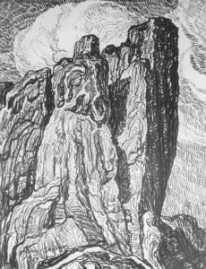 L042 The Great Red Rock 1919 lithograph