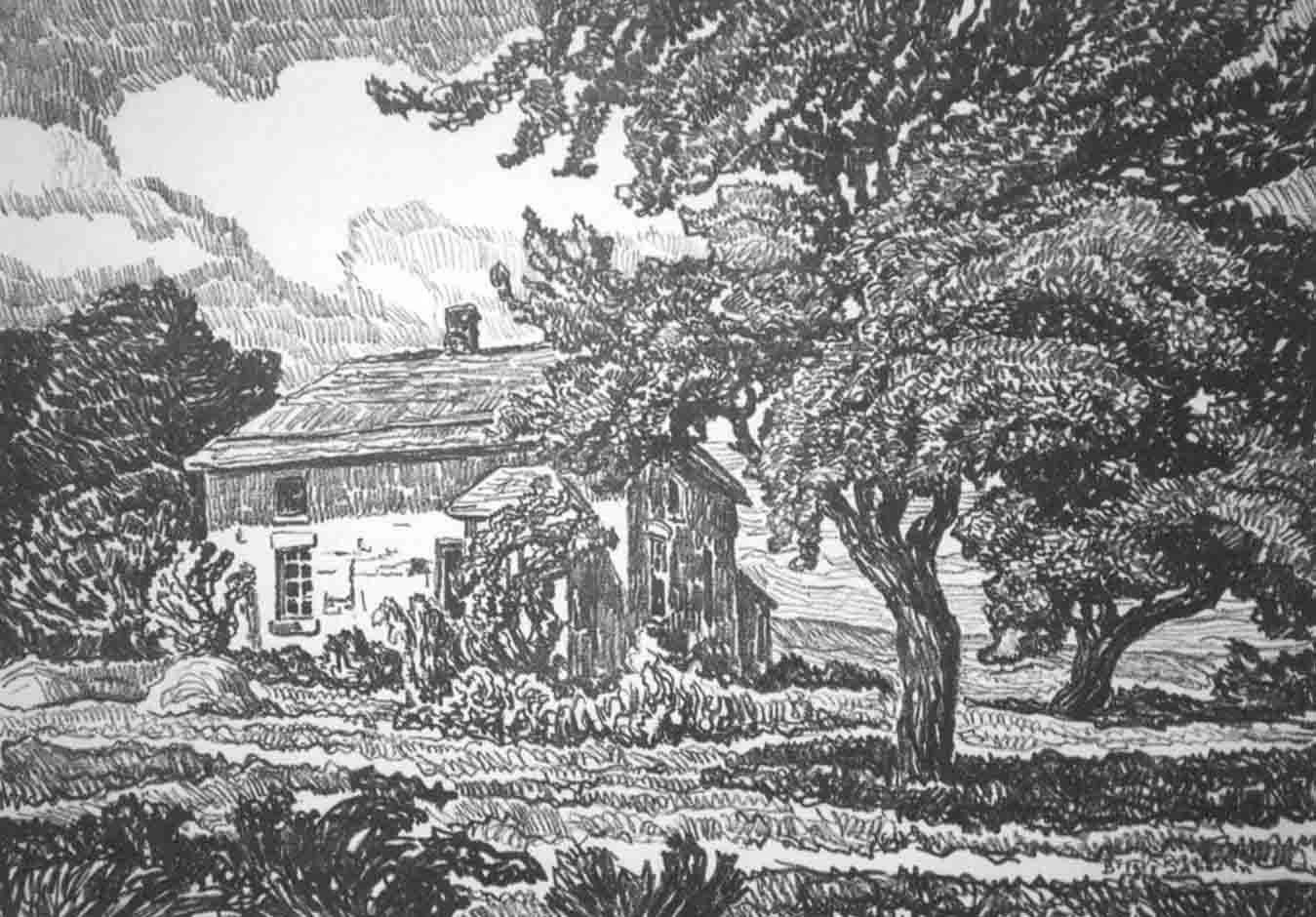 The Old Homestead 1920 lithograph - Birger Sandzén Memorial Gallery