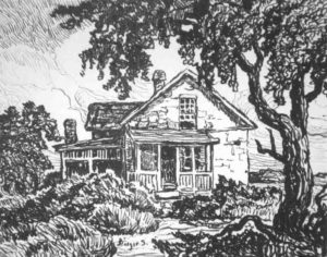 L053 Abandoned Farm house 1920 lithograph