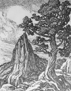 L072  Cedar and Setinel Rock  1922  lithograph