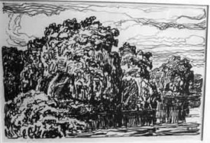 L091 Stream with Willows 1923 lithograph
