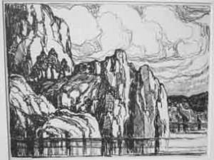 L092 Granite Banks 1923 lithograph