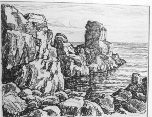 L096  Rocks and Sea  1924  lithograph
