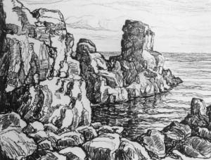 L096 Rocks and Sea 1924 lithograph