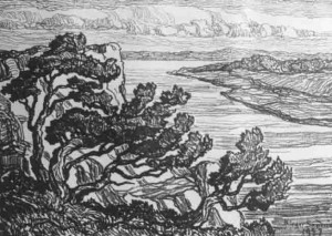 L118 Riverbank with Cedars 1927 lithograph