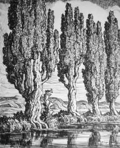 L128 Utah Poplars 1930 lithograph