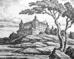 L136 Lecko Castle 1931 lithograph