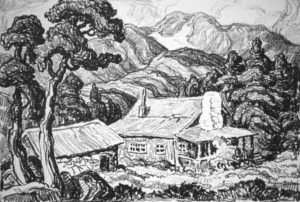 L144 A Mountain Home 1934 lithograph