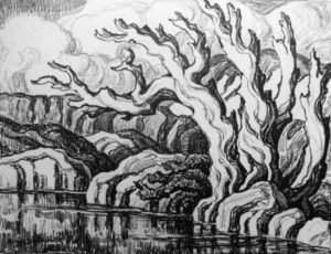 L145 Haunted Trees 1934 lithograph