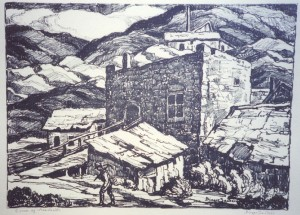L155  Corner of Nevadaville  1937  lithograph