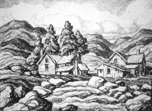 L159 Mountain Stream 1937 lithograph