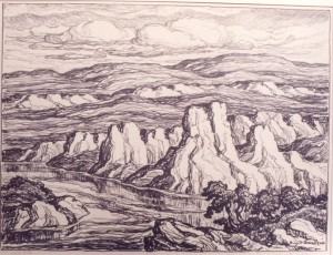 L173  White Rocks  1942  lithograph