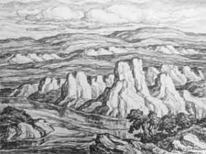 L173 White Rocks 1942 lithograph