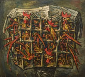 Raymer Lester  Roosters in a Cage  1962  canvas  37 x 40